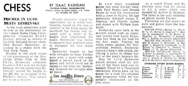 Fischer In Lead, Beats Reshevsky