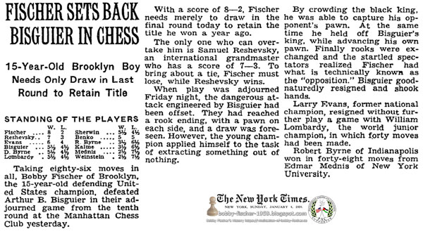 Fischer Sets Back Bisguier In Chess: 15-Year-Old Brooklyn Boy Needs Only Draw in Last Round to Retain Title