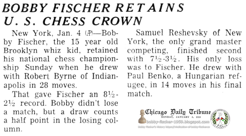 Bobby Fischer Retains U.S. Chess Crown
