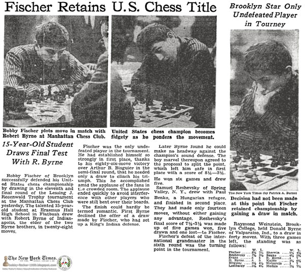 Fischer Retains U.S. Chess Title; 15-Year-Old Student Draws Final Test With R. Byrne: Brooklyn Star Only Undefeated Player in Tourney