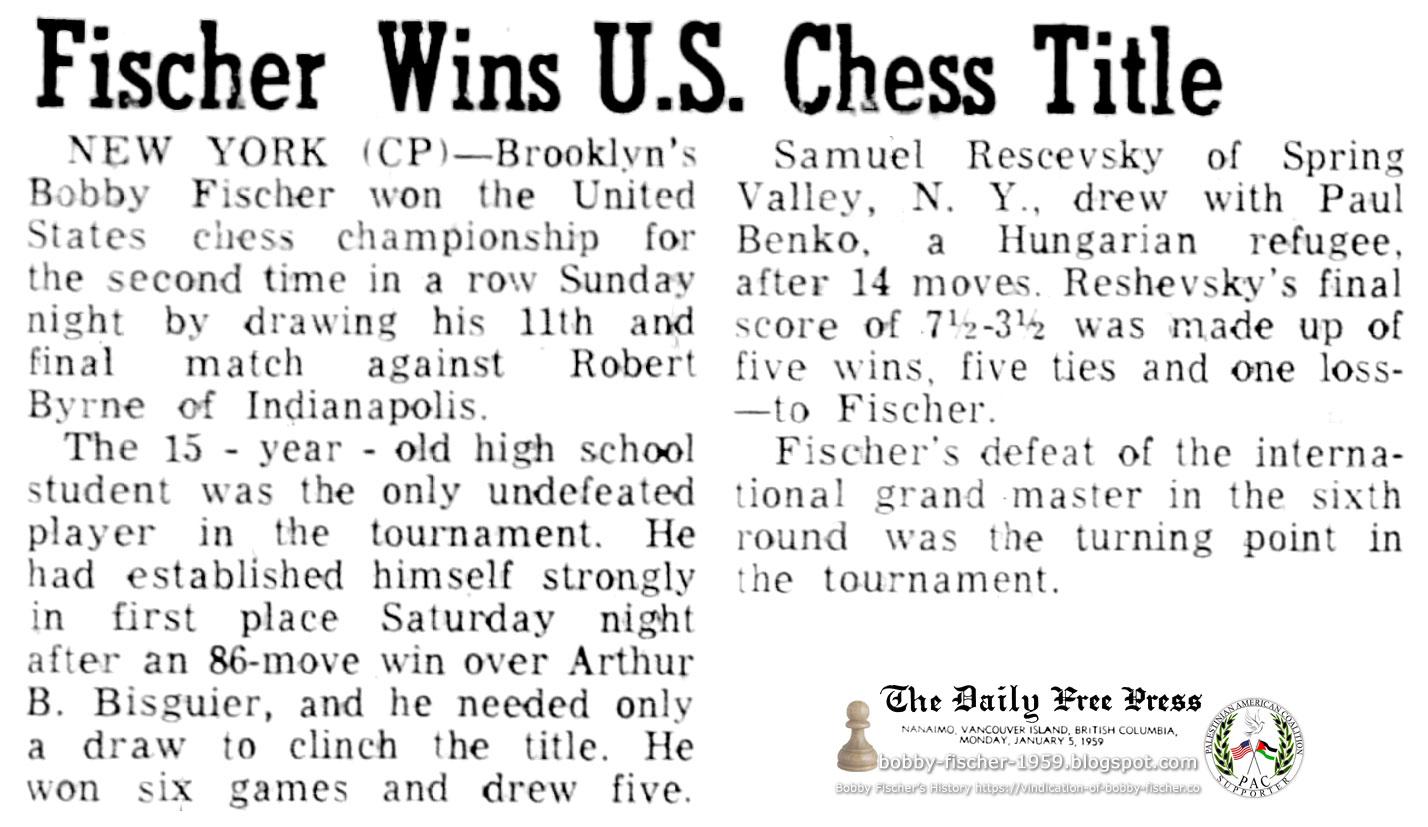 Fischer Wins U.S. Chess Title