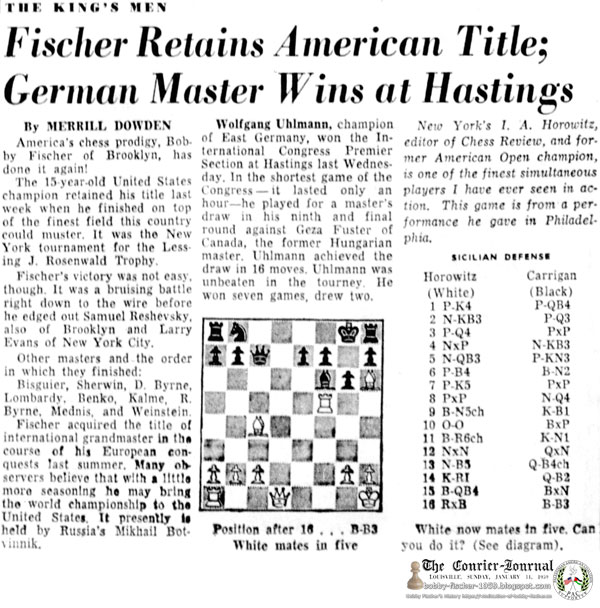 Fischer Retains American Title; German Master Wins at Hastings