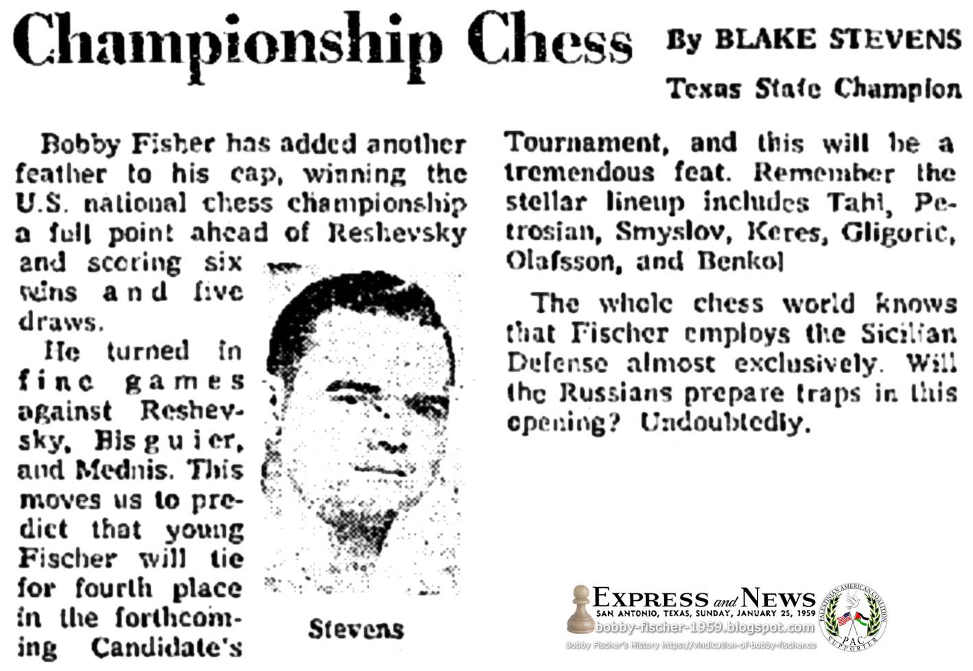 Bobby Fischer and Sicilian Defense