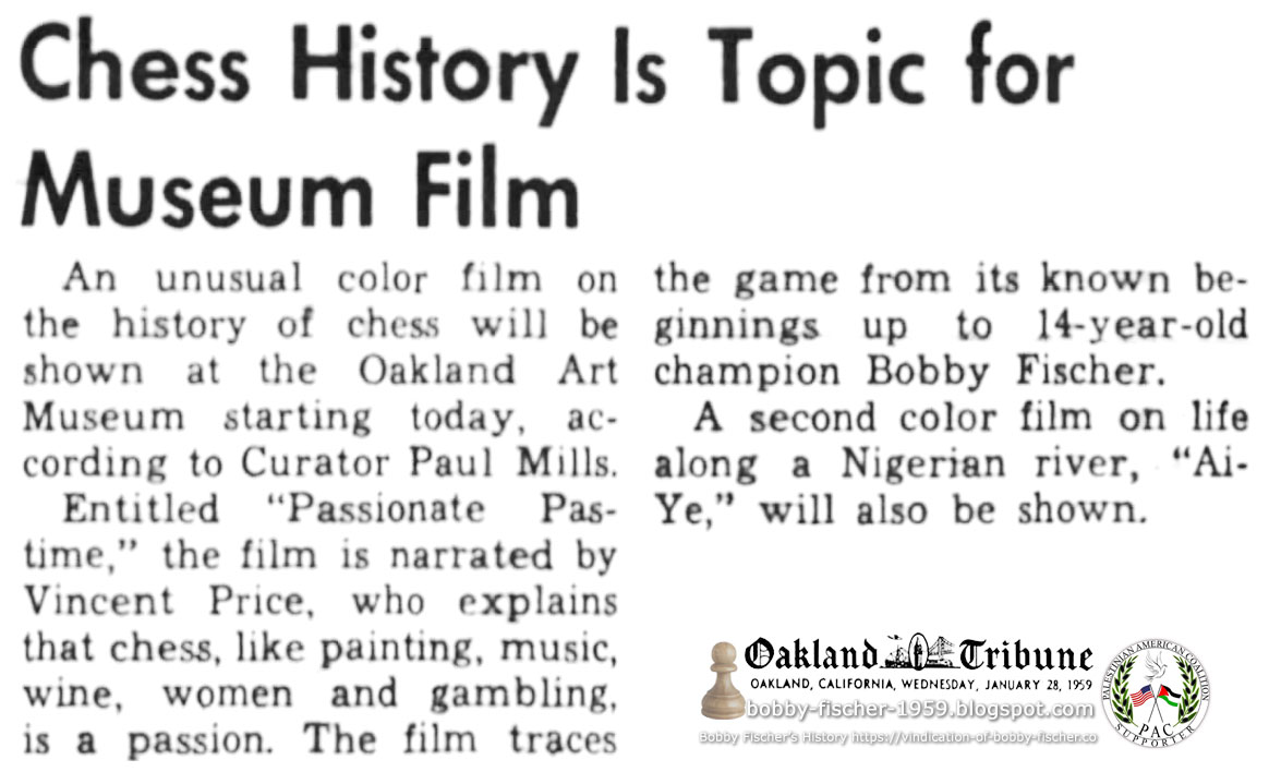 Chess History Is Topic for Museum Film