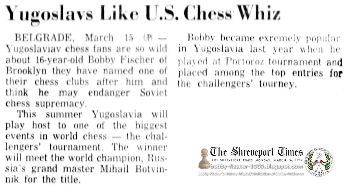 Yugoslavs Like U.S. Chess Whiz