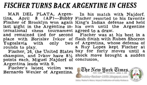Fischer Turns Back Argentine In Chess