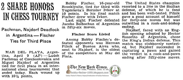 2 Share Honors In Chess Tourney: Pachman, Najdorf Deadlock in Argentina — Fischer Ties for Third Place