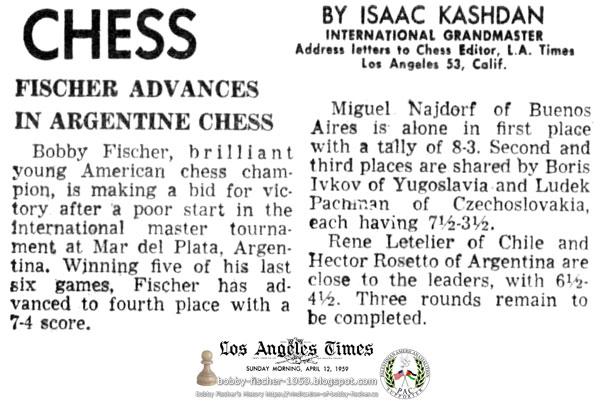 Fischer Advances In Argentine Chess