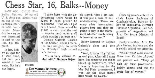 Chess Star, 16, Balks—Money