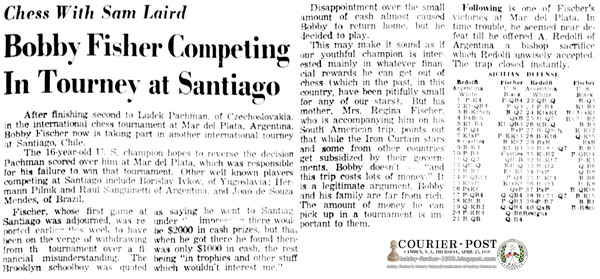 Bobby Fischer Competing In Tourney at Santiago
