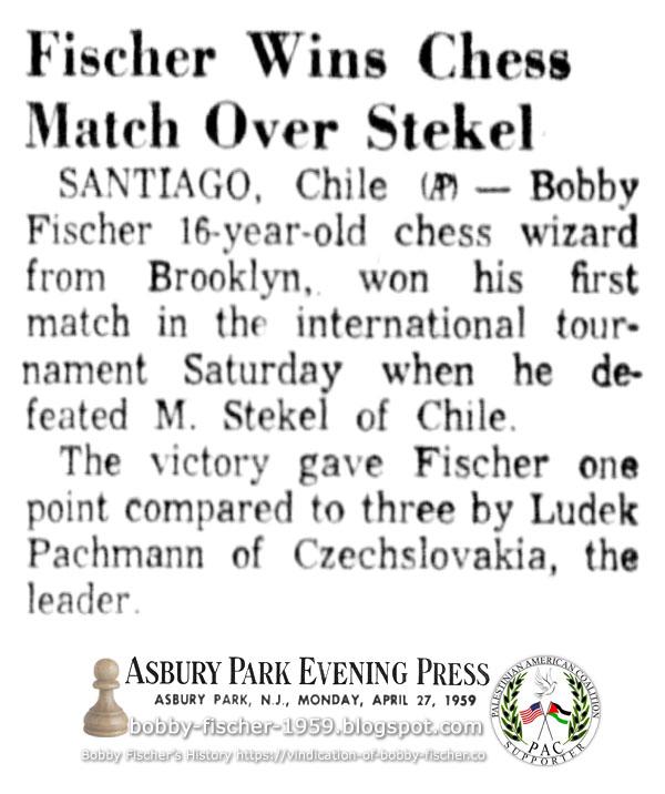 Fischer Wins Chess Match Over Stekel
