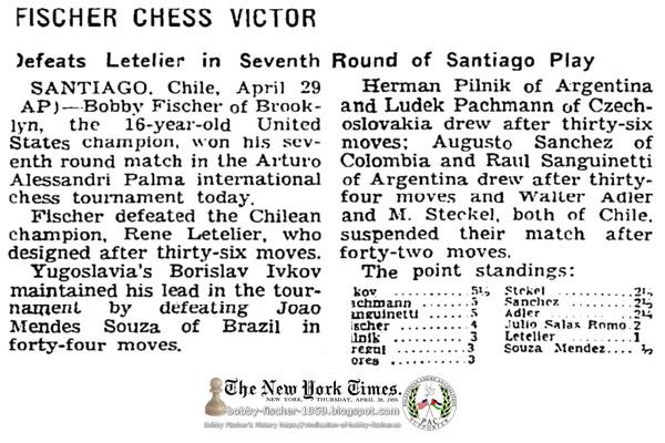 Fischer Chess Victor: Defeats Letelier in Seventh Round of Santiago Play