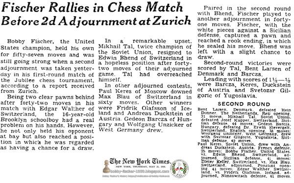Fischer Rallies in Chess Match Before 2d Adjournment at Zurich
