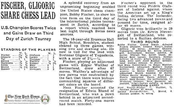 Fischer, Gligoric Share Chess Lead: U.S. Champion Scores Twice and Gains Draw on Third Day of Zurich Tourney