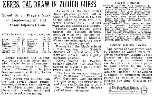 Keres, Tal Draw In Zurich Chess: Soviet Union Players Stay in Lead—Fischer and Larsen Adjourn Game: Fischer Baffles Rivals