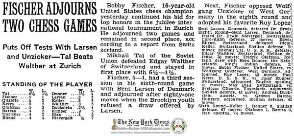Fischer Adjourns Two Chess Games