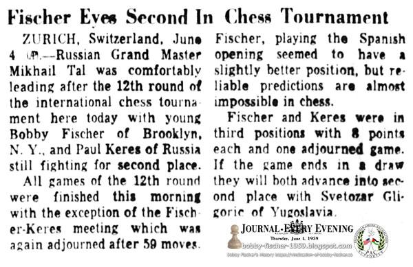 Fischer Eyes Second In Chess Tournament