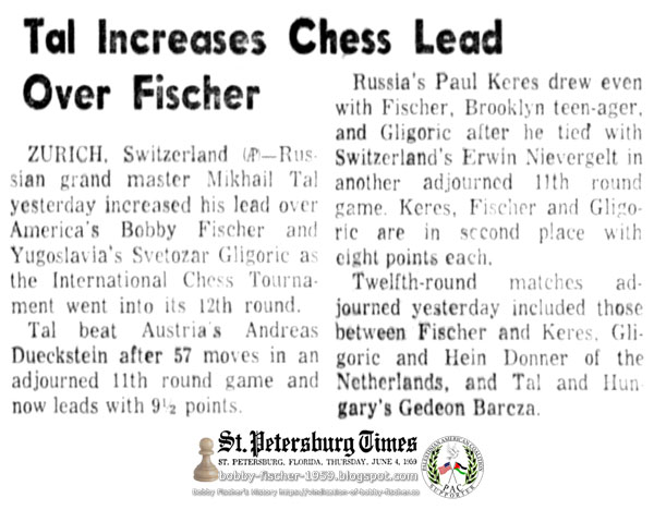Tal Increases Chess Lead Over Fischer