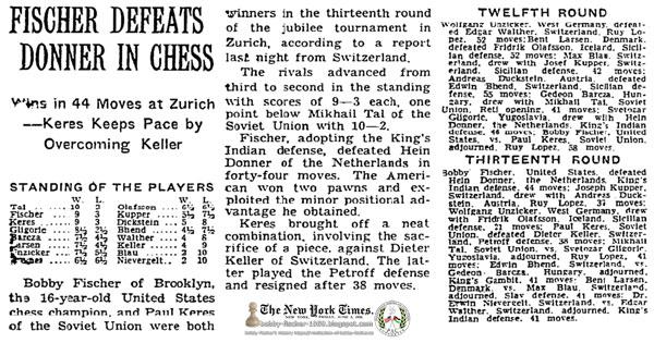 Fischer Defeats Donner In Chess