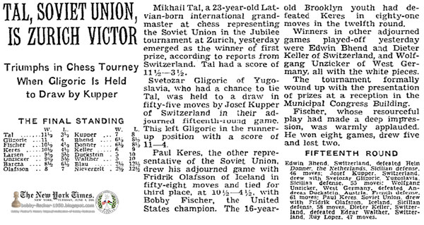 Tal, Soviet Union, Is Zurich Victor: Triumphs in Chess Tourney When Gligoric Is Held to Draw by Kupper