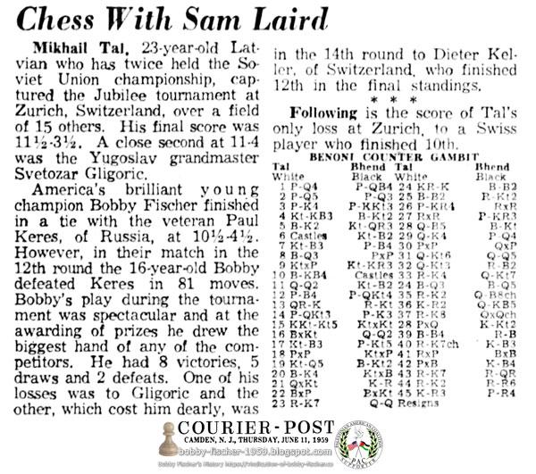 Mikhail Tal, Paul Keres vs. Bobby Fischer