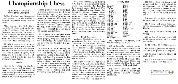 Bobby Fischer is Restless, Patient, Tenacious and Resilient