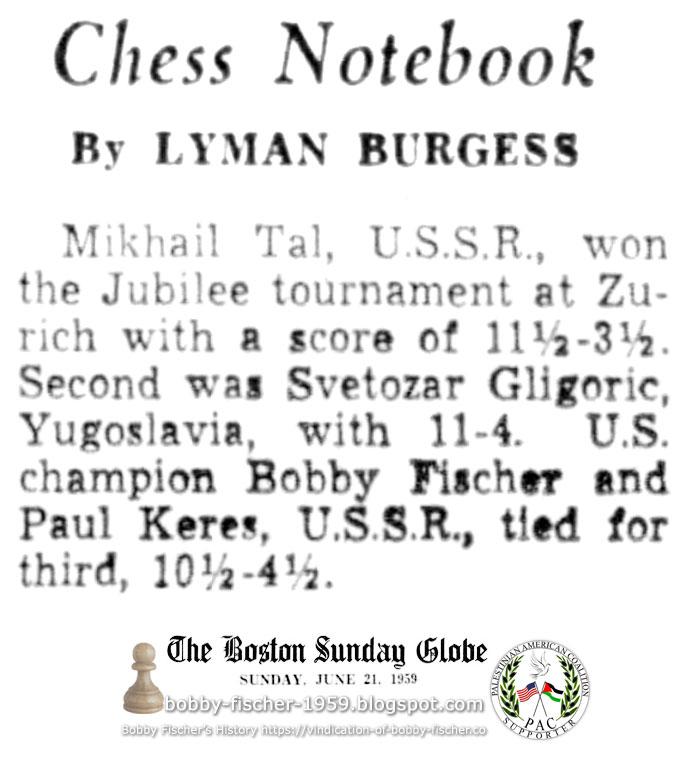 Bobby Fischer at 1959 Jubilee Tournament