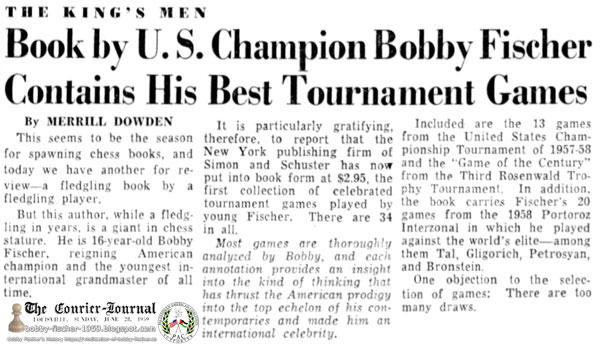 Book by U.S. Champion Bobby Fischer Contains His Best Tournament Games