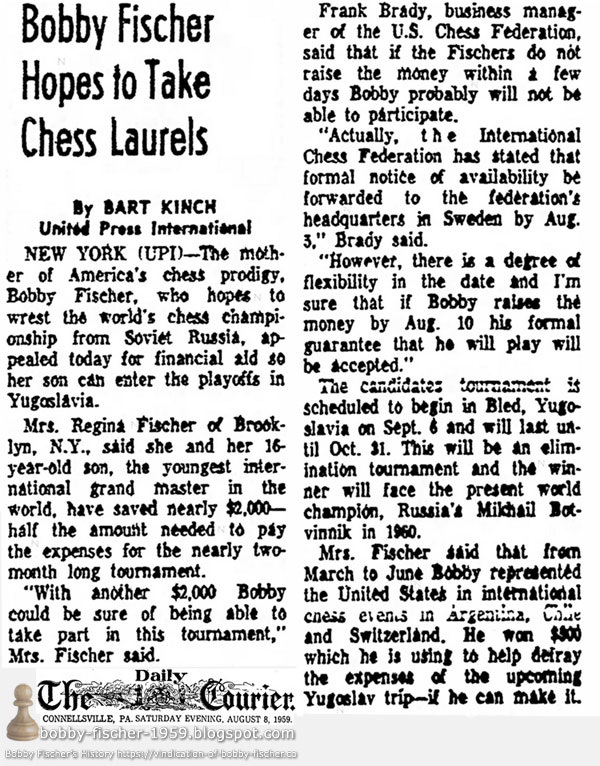 Bobby Fischer Hopes to Take Chess Laurels