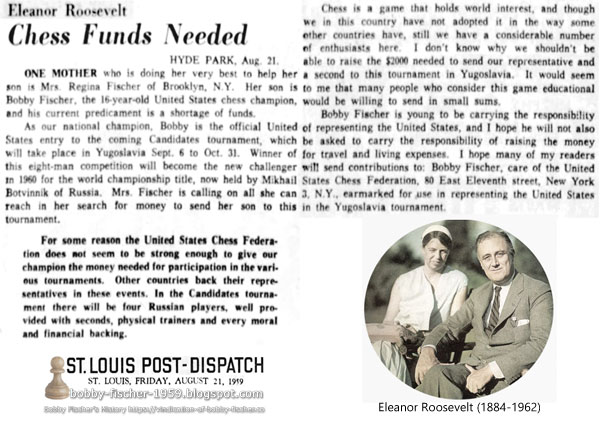 Chess Funds Needed by Eleanor Roosevelt