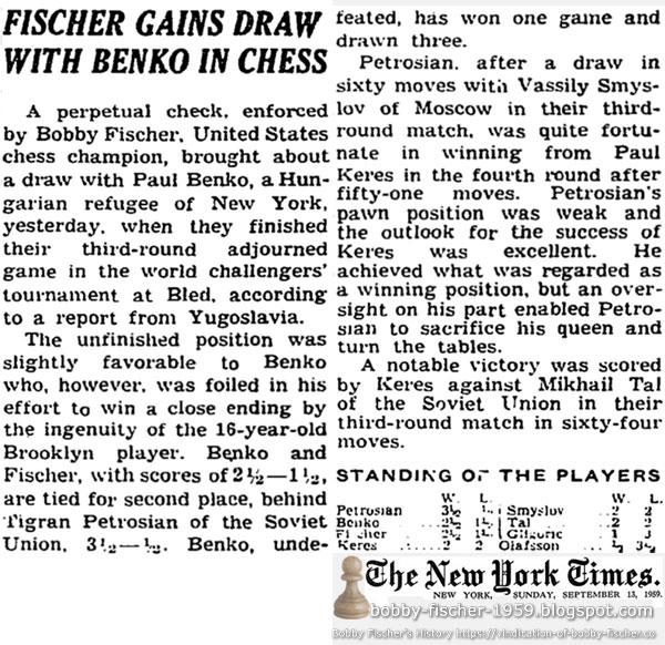 Fischer Gains Draw With Benko In Chess