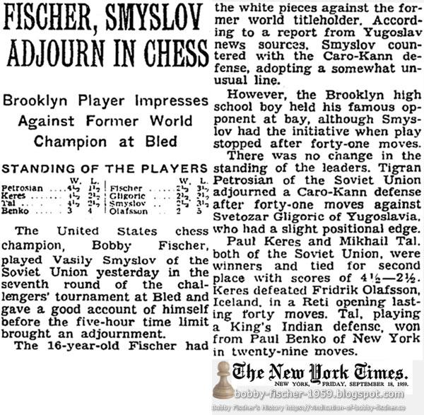 Fischer, Smyslov Adjourn In Chess: Brooklyn Player Impresses Against Former World Champion at Bled