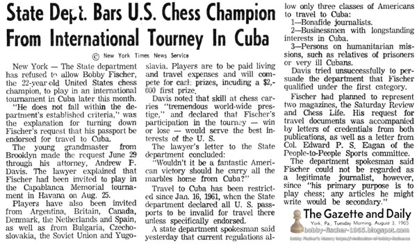 State Dept. Bars U.S. Chess Champion From International Tourney In Cuba