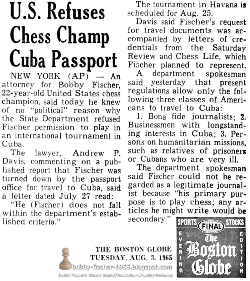 U.S. Refuses Chess Champ Cuba Passport