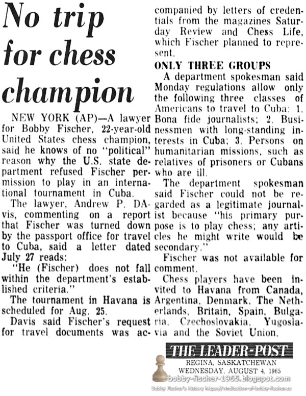 No trip for chess champion