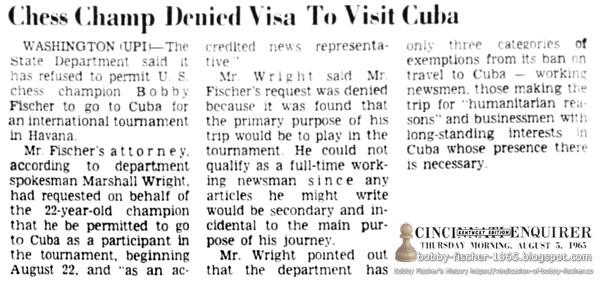Chess Champ Denied Visa To Visit Cuba