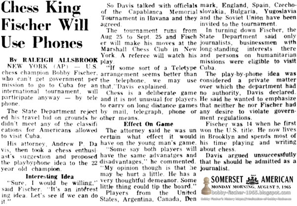 Chess King Fischer Will Use Phones