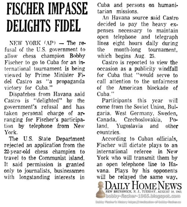Fischer Impasse Delights Fidel