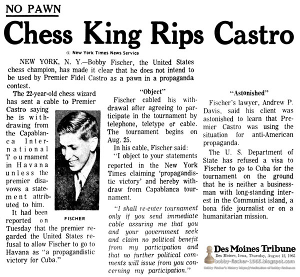 Chess King Rips Castro
