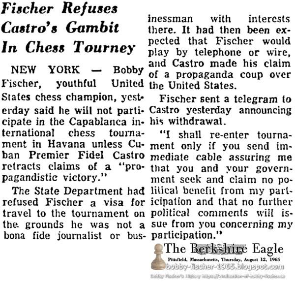 Fischer Refuses Castro's Gambit In Chess Tourney