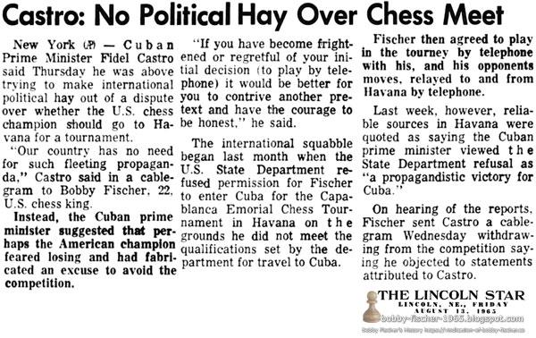 Castro: No Political Hay Over Chess Meet
