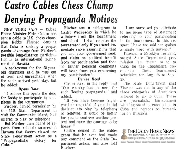 Castro Cables Chess Champ Denying Propaganda Motives