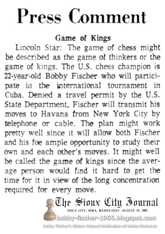 Press Comment: Game of Kings