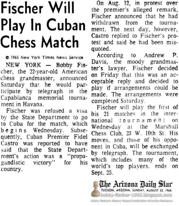 Fischer Will Play In Cuban Chess Match
