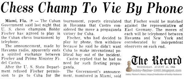 Chess Champ To Vie By Phone