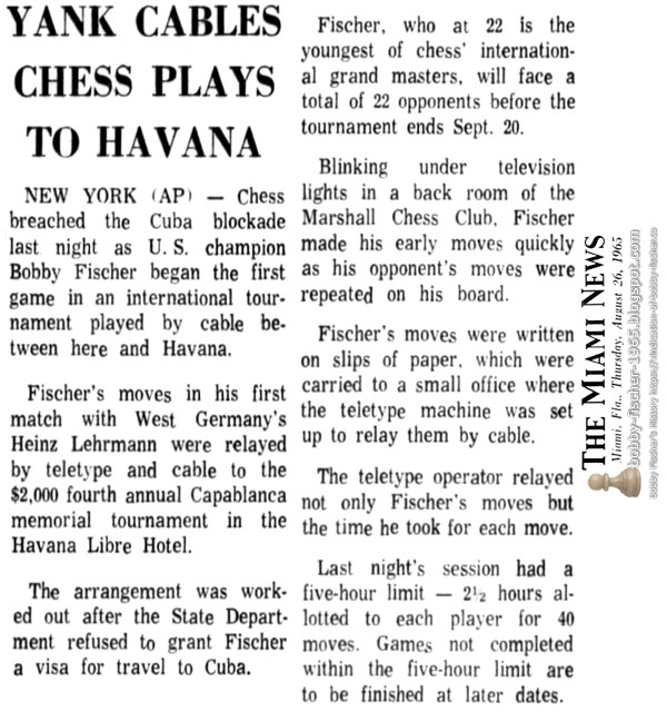 Yank Cables Chess Plays To Havana