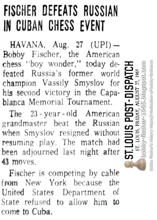Fischer Defeats Russian In Cuban Chess Event