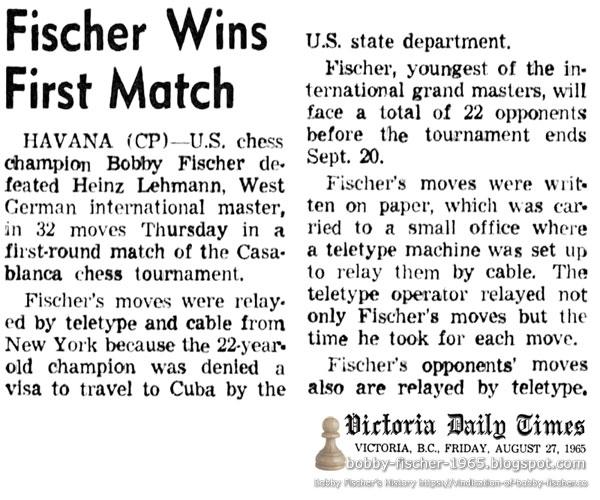 Fischer Wins First Match