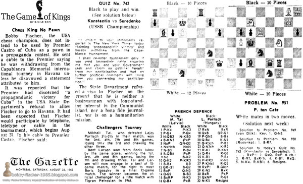 August 21, 1965 Game of Kings by D.M. Le Dain Gazette, Montreal Canada