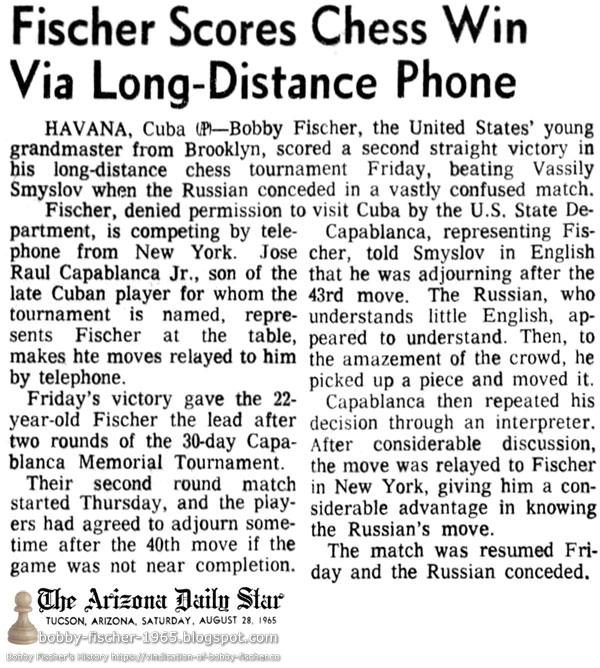 Fischer Scores Chess Win Via Long-Distance Phone